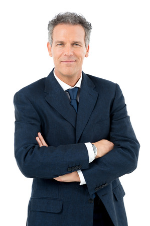 Portrait Of Satisfied Mature Businessman Looking At Camera Isolated On White Background Stock Photo - 27614106