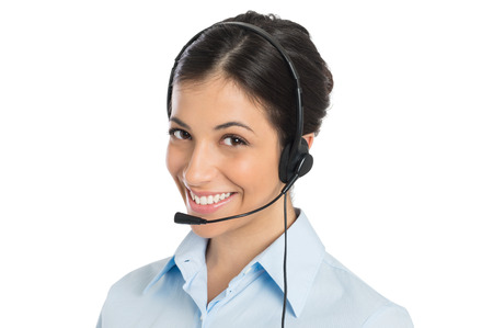 contact center: Portrait Of Happy Young Businesswoman Wearing Headset Isolated White Background