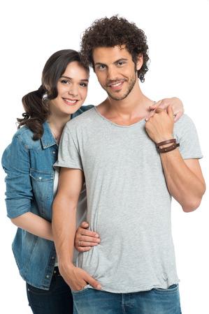 couple background: Portrait Of Happy Couple Isolated On White Background Stock Photo
