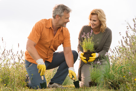 handglove: Happy Mature Man Digging In Field And Woman Holding Potted Plant