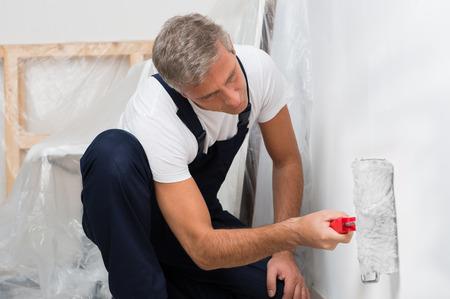 pintor: Retrato de un hombre maduro en pintura de pared con rodillo