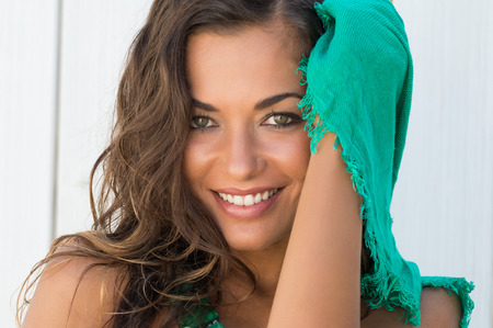 Portrait Of Beautiful Happy Woman With Scarf In A Summer Day Фото со стока