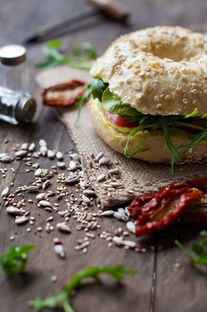 rocked: Veg sandwich on rustic table Stock Photo