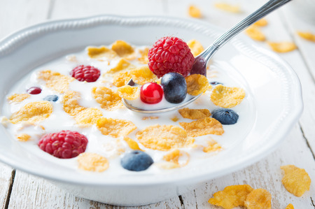 Bowl of milk with cereals and fruit photo