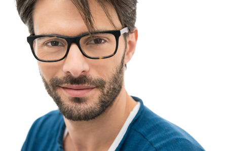 white beard: Closeup of smiling young man wearing eyeglasses