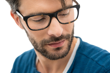Closeup of man wearing spectacle isolated on white background Stock Photo