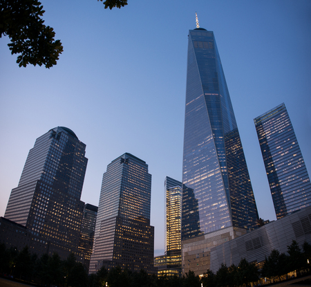 other world: One World Trade Center and other skyscrapers in the Financial District, Lower Manhattan, New York City. Night view of Lower Manhattan and its modern skyscrapers in New York. Illuminated skyscrapers in the Financial District of New York City.