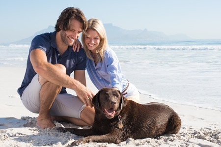 Cheerful couple at beach playing with labrador retriever. Couple relaxing at beach with their pet. Happy couple with their dog at the beach on a sunny day.