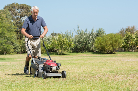 Senior gardener mowing his green lawn in garden. Man working in garden cutting grass with lawn mower. Retired mature man in shorts mowing grass with an electric mower in garden. Stock Photo