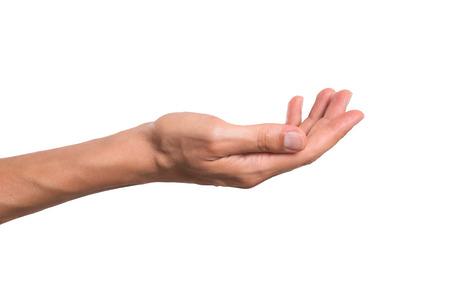 manos: estirada mano del hombre aislado sobre fondo blanco. Abrir gesto de la mano palma de la mano del hombre. Cierre de la palma abierta aislada sobre fondo blanco. Foto de archivo