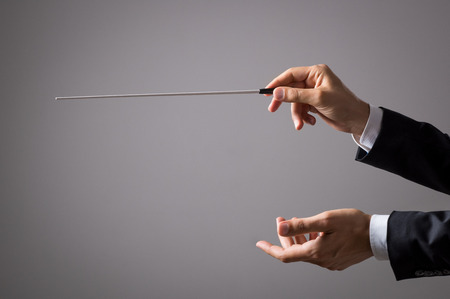 Musician director holding stick isolated on grey background. Close up of orchestra conductor hands holding baton. Music conducting director holding stick. Banque d'images