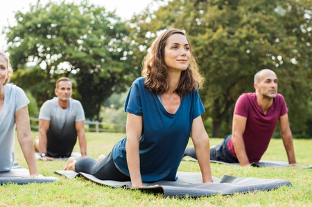 Mature healthy people doing yoga at park. Group of multiethnic people exercising on green grass with yoga mat. Happy men and smiling women in yoga class doing exercise outdoor. Stock Photo