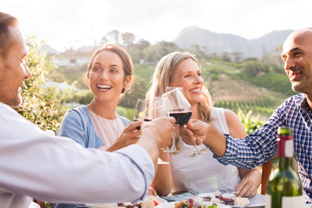 Happy friends raising their glasses in a toast outdoor in a winery farm. Smiling mature woman and men enjoying a picnic together at park. Middle aged multiethnic couple having dinner together and toasting wine. Banque d'images