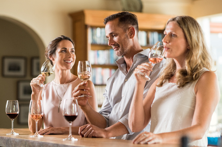 Mature friends tasting red and white wine at vineyard. Senior couple and visitor drinking white wine. Customers at a bar winetasting and talking to each other.