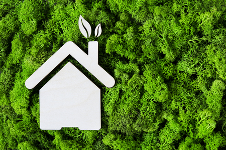 Top view of house wooden shape on green moss with copy space. High angle view of eco house and leaves. Environmental protection and sustainable architecture and energy concept.