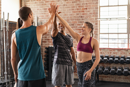 Happy fitness class giving high-five after completing exercise session. Group of multiethnic sporty people giving high five and exult after crossfit training. Smiling women and muscular men celebrate their success with copy space.