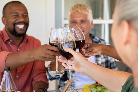 Multiethnic friends cheering with wine glasses under the patio during lunch. Happy mature and senior people having fun together while raising a toast with glasses of red wine. Generation couple toasting with red wine at picnic table to celebrate. Stok Fotoğraf