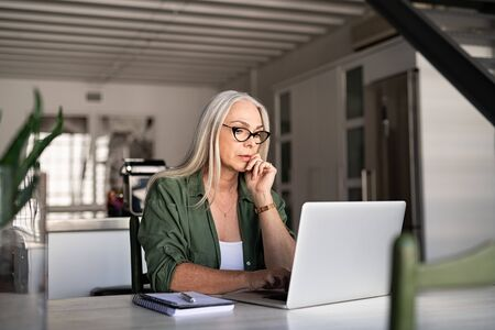 Focused old woman with white hair at home using laptop. Senior stylish entrepreneur with notebook and pen wearing eyeglasses working on computer at home. Serious woman analyzing and managing domestic