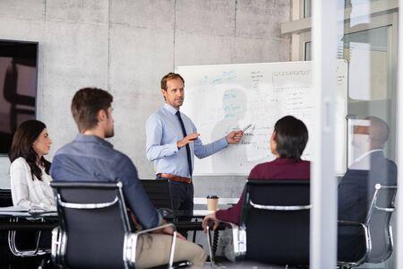 現代のオフィスで彼の同僚にプレゼンテーションを与える成熟したビジネスマン。ホワイトボードを使用して会議室でビジネスパートナーに新しいプロジェクトを発表する正式なリーダー。役員室でのビジネスの進歩を示す会議のビジネスマン。