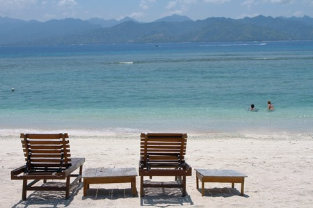 stool: Relaxing sunbath stool on beach