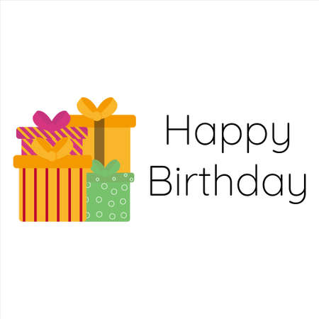 Happy Birthday with a gift box cartoon in flat design