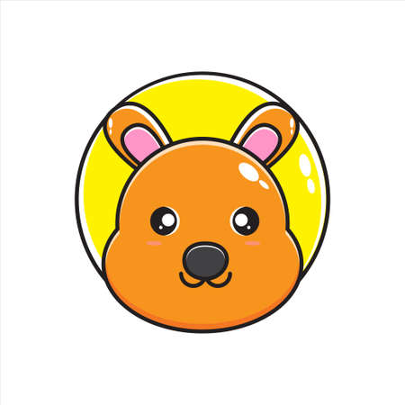 cute kangaroo head mascot illustration