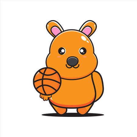 kangaroo mascot illustration with basketball  イラスト・ベクター素材