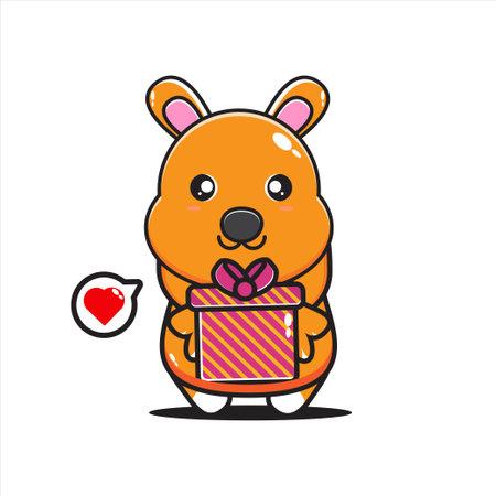 cute kangaroo mascot vector design with gift  イラスト・ベクター素材