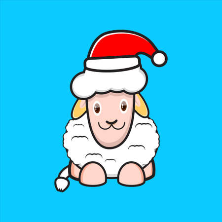 cute sheep mascot design wearing santa hat 矢量图像