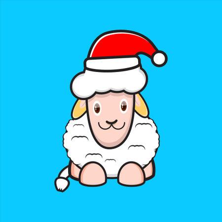 cute sheep mascot design wearing santa hat Çizim