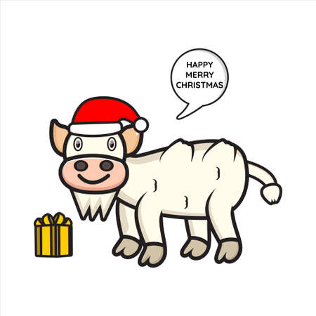 mascot the cute goat on christmas vector design
