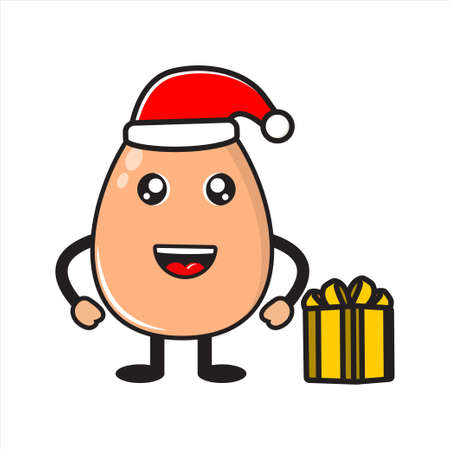 mascot chicken egg on christmas day vector design