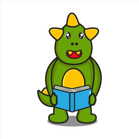 cute dinosaur mascot with book reading