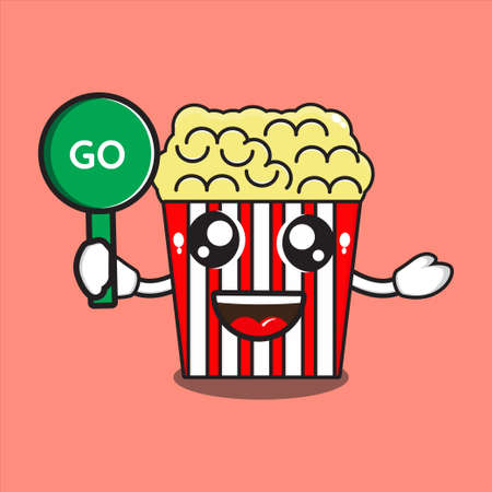 cute popcorn mascot with go sign, cute popcorn character with vector design eps 10