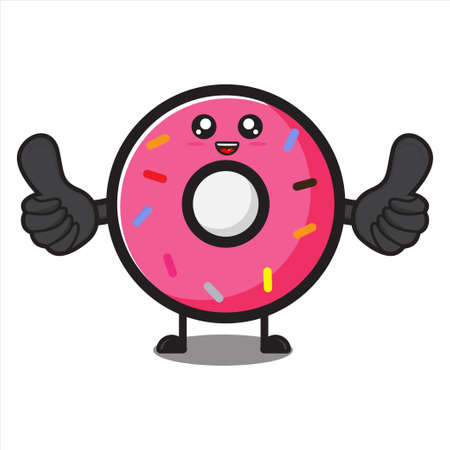 cute donut mascot thumbs up, cute donut character on white background vector eps 10