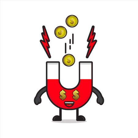 magnet mascot attracts dollar coins, character magnet vector eps 10