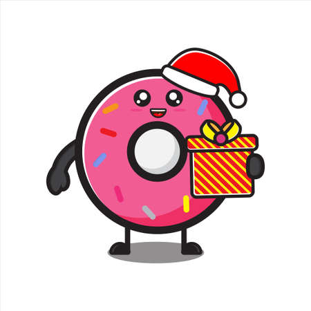 cute donut mascot on christmas day, cute donut character on white background vector eps 10