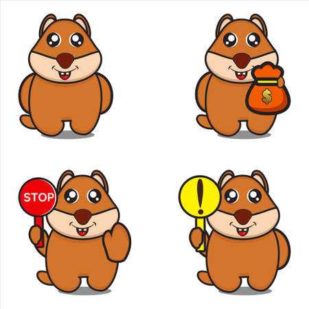 cute mascot character collection of squirrels, funny characters with design eps 10 vector
