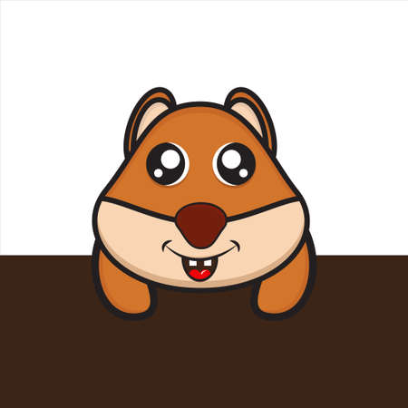 cute mascot squirrel characters behind the wall, cute characters with eps 10 vector design Ilustração