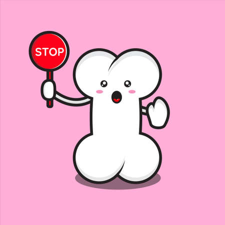 cute bone mascot with stop sign, cute bone mascot character vector on white background