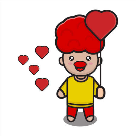 funny mascot clown on april fools day holding love, cute vector illustration character on white background