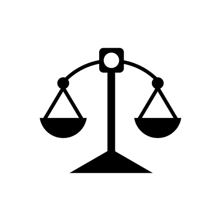 Justice scale icon black - on white background