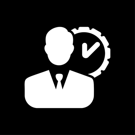 Time Management Icon - Business Concept with men - vector white