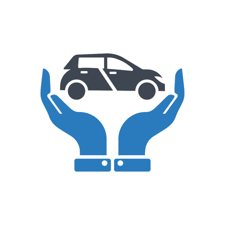 Hands holding car - auto insurance icon vector - transport insurance icon blue