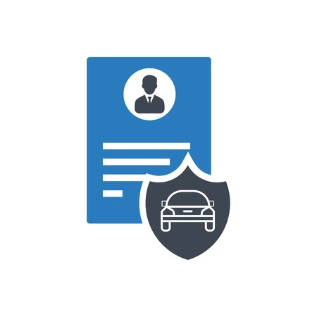 Car driver document identification with photo - vector blue