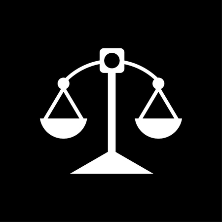 Justice scale icon white - on black background