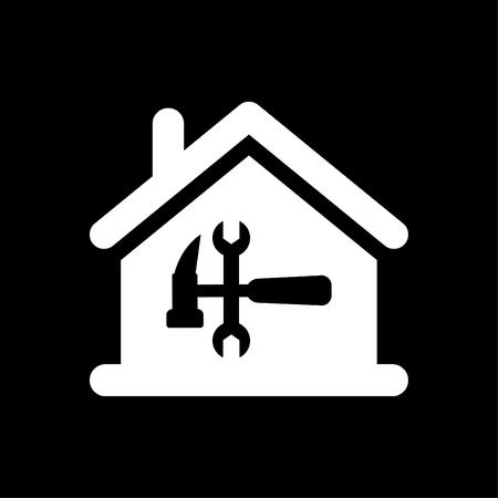 Home repair Icon vector white  イラスト・ベクター素材