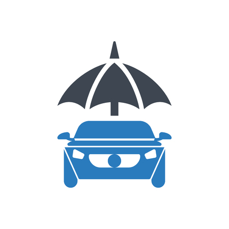 Car Protection - auto insurance icon vector - transport insurance glyph style icon blue