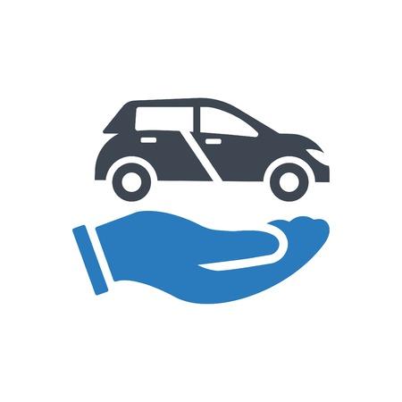 Car in hand - auto insurance icon blue Çizim