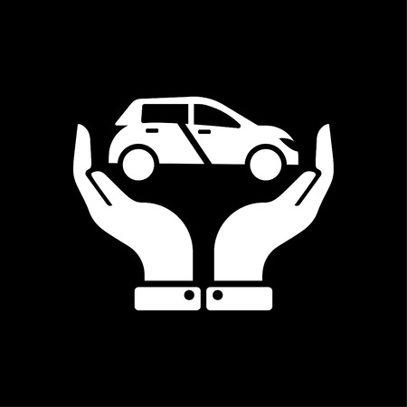 Hands holding car - auto insurance icon vector - transport insurance icon white